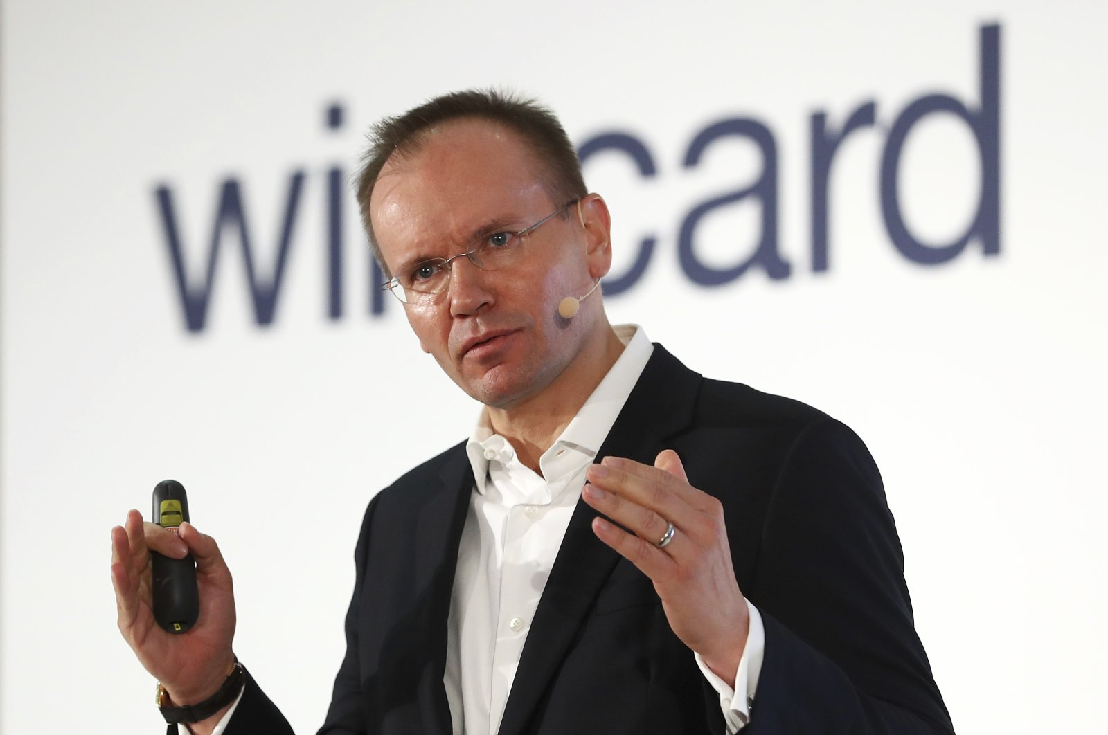 Markus Braun, CEO of financial services company Wirecard, attends the earnings press conference in Munich, Germany, April 25, 2019. (AP Photo)